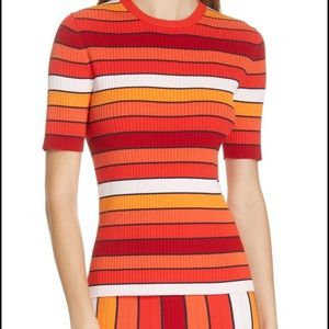 Tory sport multi stripe knit sweater orange NWT 🍊